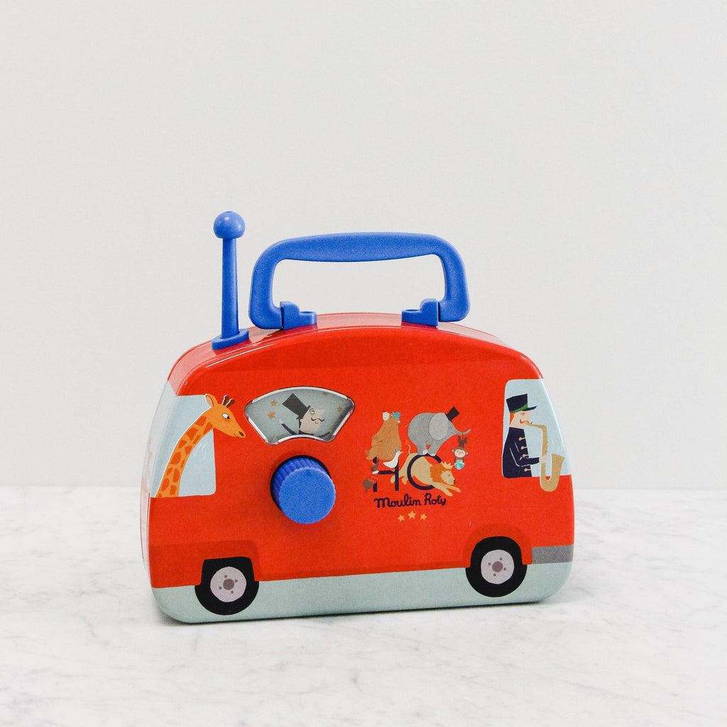 Red musical travelling circus metal bus toy - front