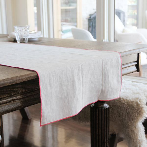 Linen Way - Runner with Pink Trim