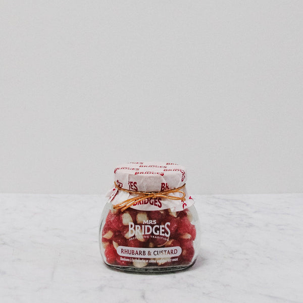jar of mrs bridges rhubarb and custard candies