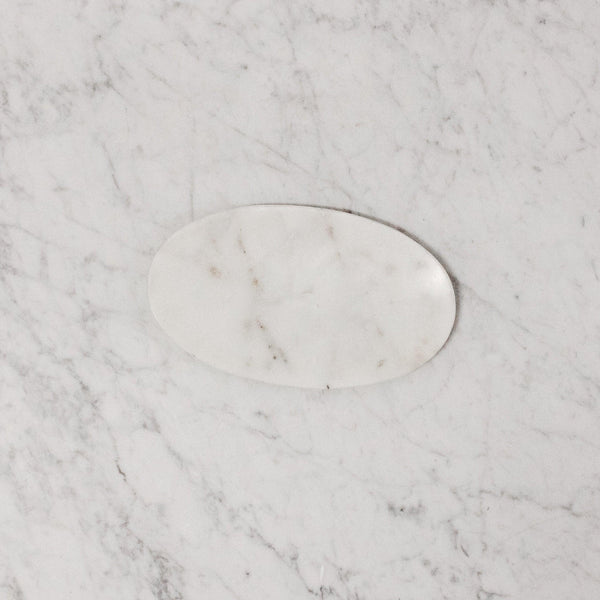 white marble oval soap dish