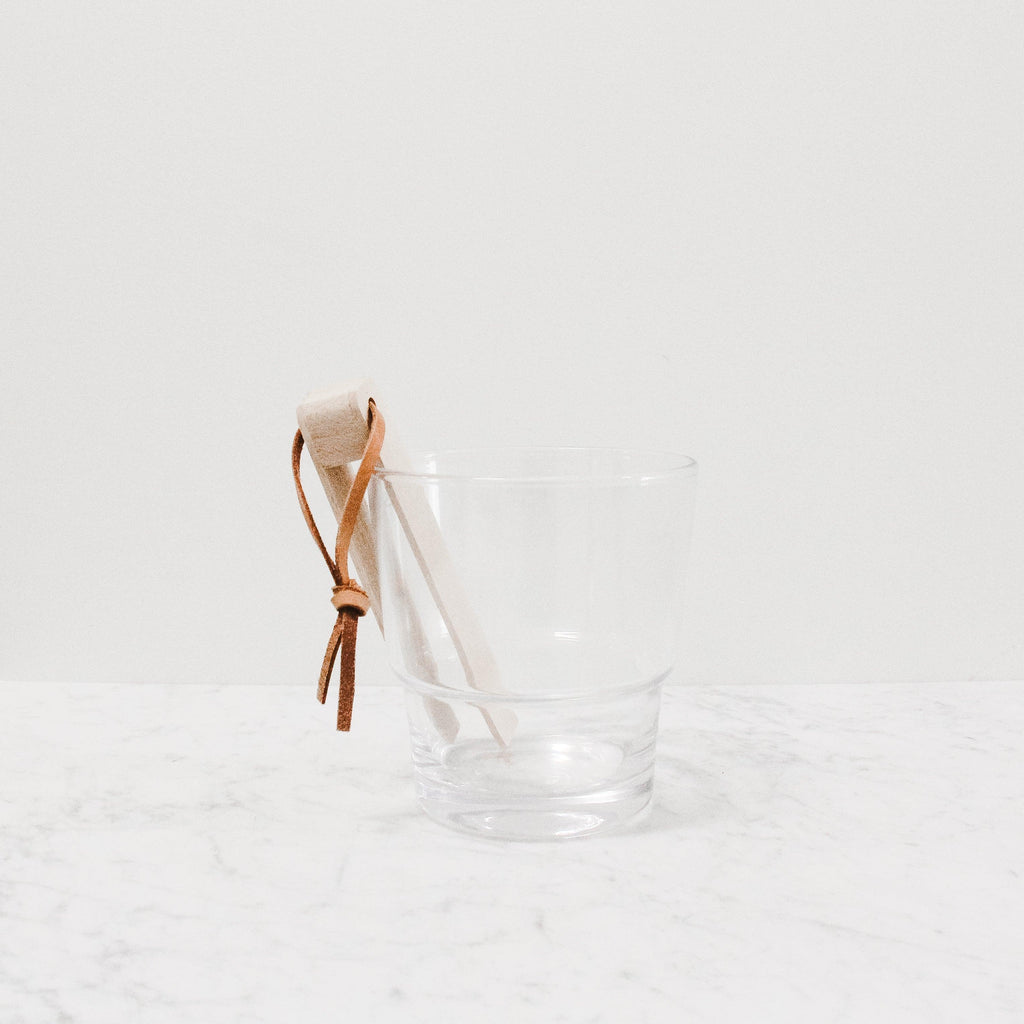 glass LSA ice bucket with wooden tongs