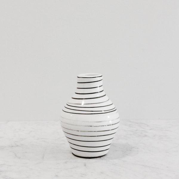 black and white ceramic striped vase
