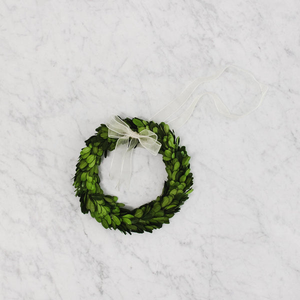 medium Boxwood Wreath with a White Ribbon