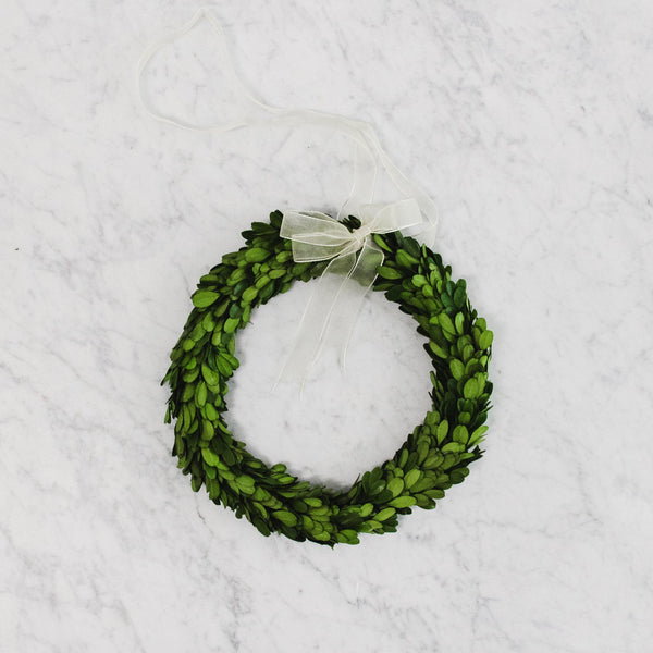 large Boxwood Wreath with a White Ribbon