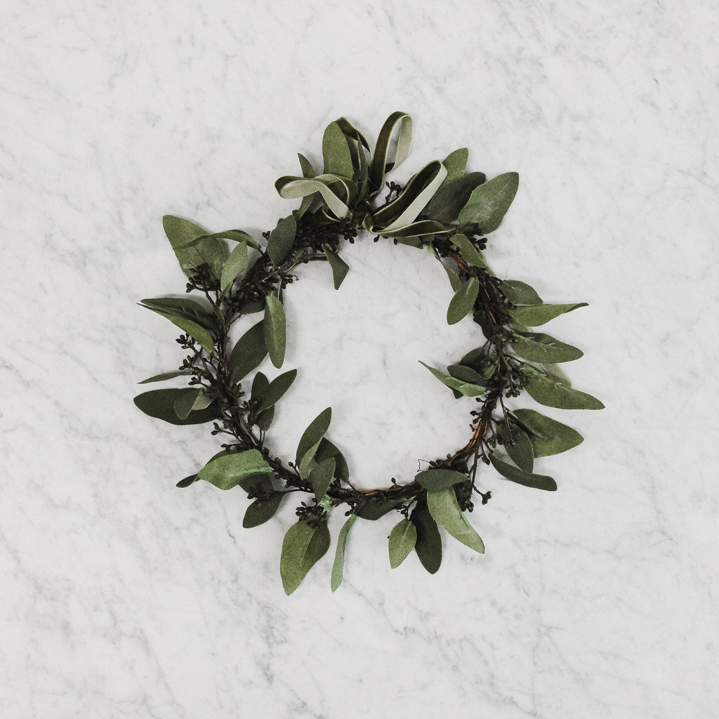 large faux eucalyptus wreath