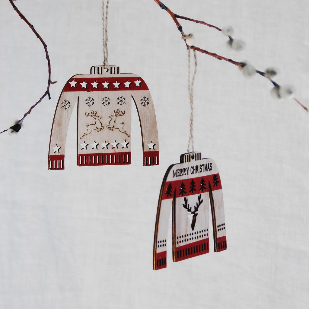 Ornament Wood Sweaters (Set Of 6)