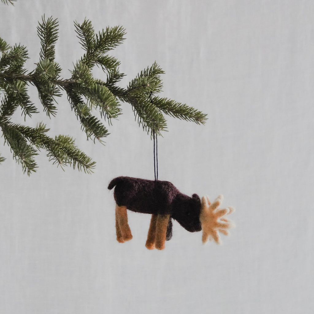 Wool moose holiday ornament