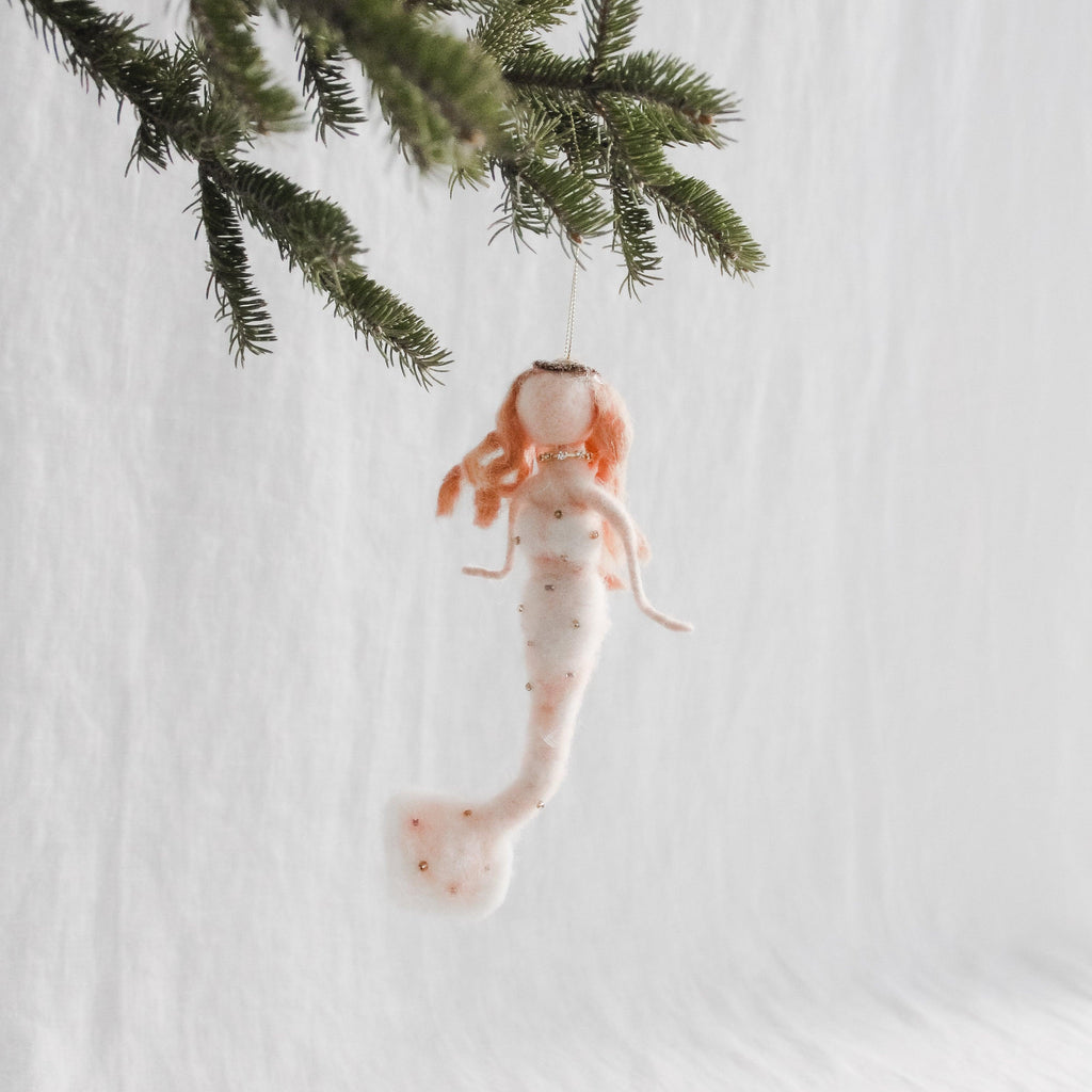 Wool pink mermaid holiday ornament