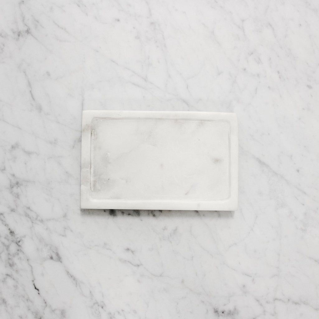 Lothantique Rectangular white Marble Soap Dish