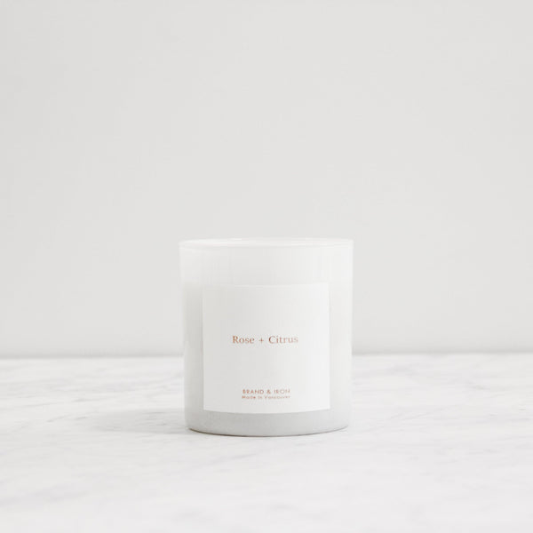 Canadian company Brand & Iron scented candle in rose and citrus