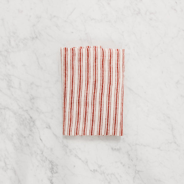 lothantique red stripe tea towel with white and red vertical stripes