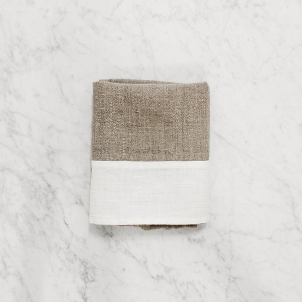 folded Le Chef Tea Towel - nat/white