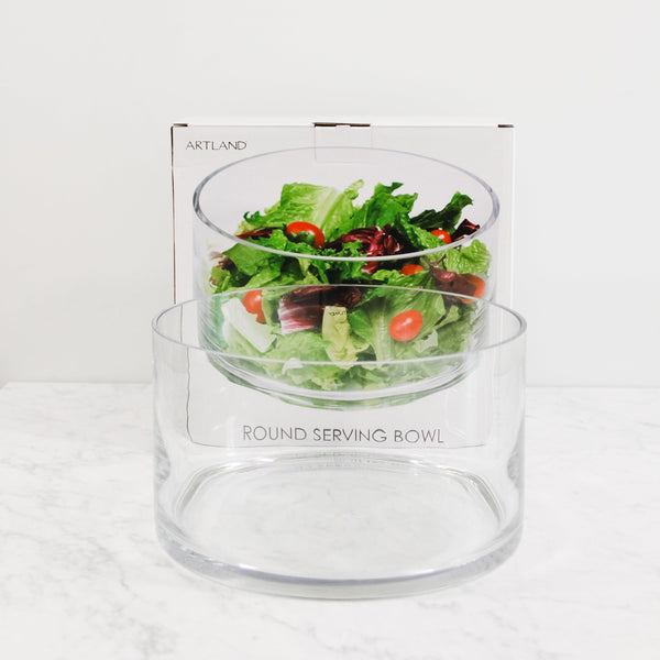 round glass serving bowl with packaging