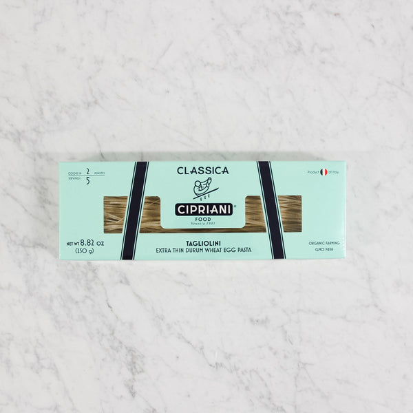 light blue box of cipriani taliolini dried pasta