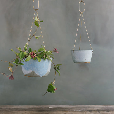 Blue Frost Brass Hanging Planter