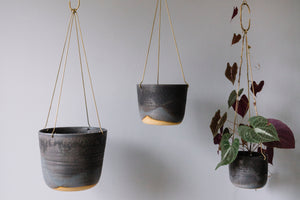 Midnight Sky Brass Hanging Planter