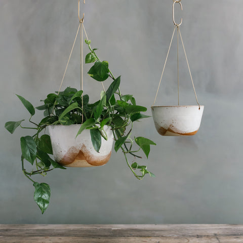 Glacier Brass Hanging Planter
