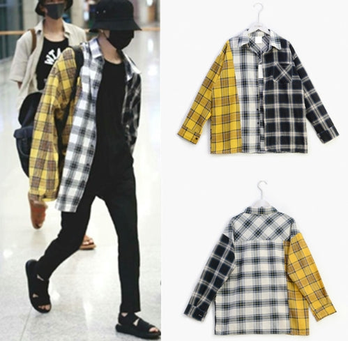 BTS airport fashion korean idol check shirt jacket