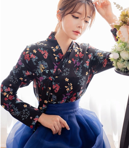 Flower modern hanbok top blouse