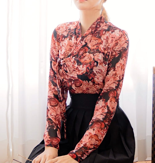 Black red rose flower casual hanbok top jeogori