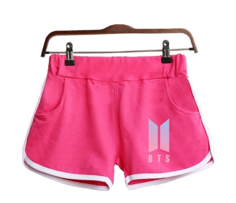 BTS LOVE YOURSELF Kpop Shorts Women Casual Cotton Shortpant Femme Contrast Elastic Waist Shorts Fast Drying Drawstring Clothing