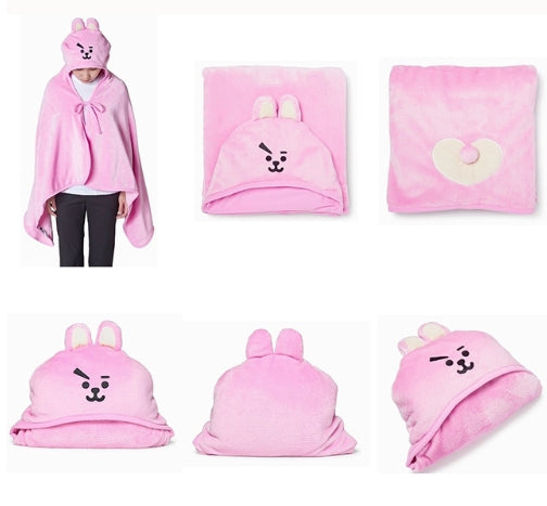 Kpop BTS BT21 Bangtan Boys Q Styles Plush Hooded Blanket Cute COOKY CHIMMY  Soft Warm Shawl