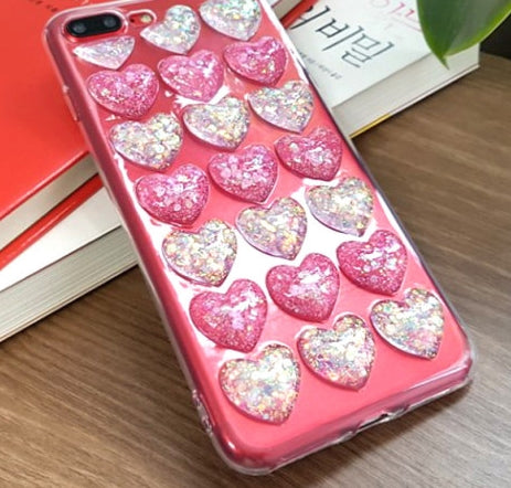 Ball heart embossing glitter galaxy note8 case galaxy S9,iphone8