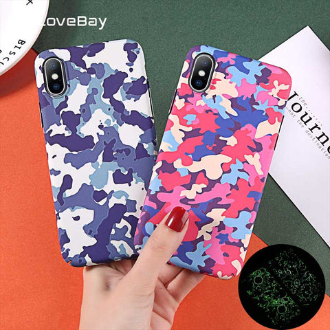 Romantic For Iphone 6 6s 7 8 Plus 5 5s Se Phone Case Fashion Cute Cartoon Stripe Earth Moon Leaf Painted Hard Pc For Iphone X Xr Xs Max Half-wrapped Case