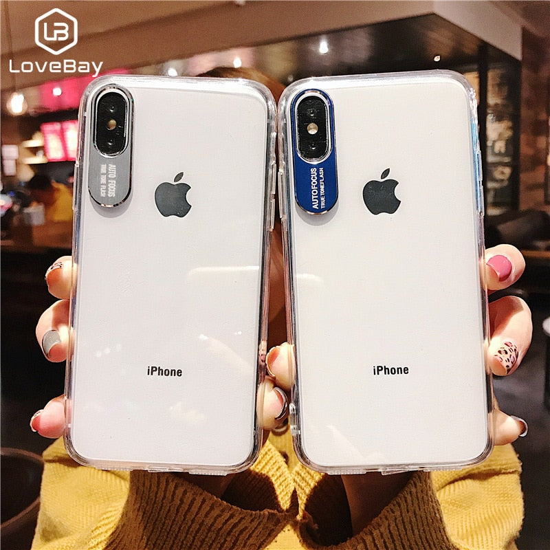quality design 97c7a 2ceb7 Lovebay Phone Case For iPhone 6 6s 7 8 Plus X XR XS Max Fashion Metal  Camera Protection Design Clear Soft TPU For iPhone X Cover