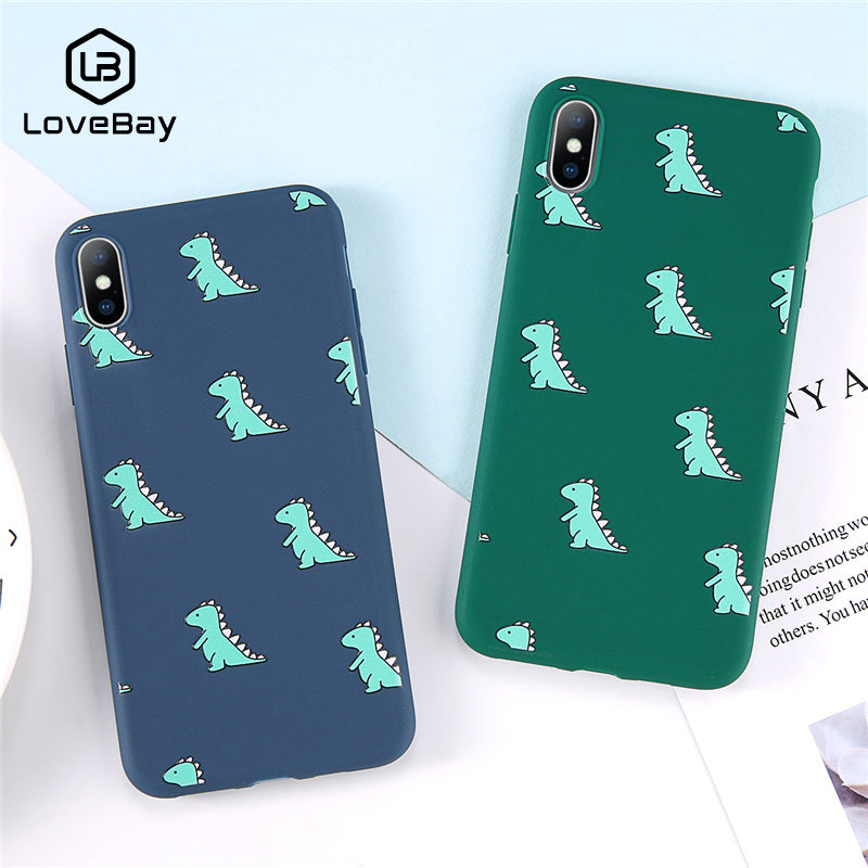 Lovebay Phone Case For iPhone 6 6s 7 8 Plus X XR XS Max Fashion Cute Cartoon Lovely Dinosaur Soft TPU For iPhone X Phone Case
