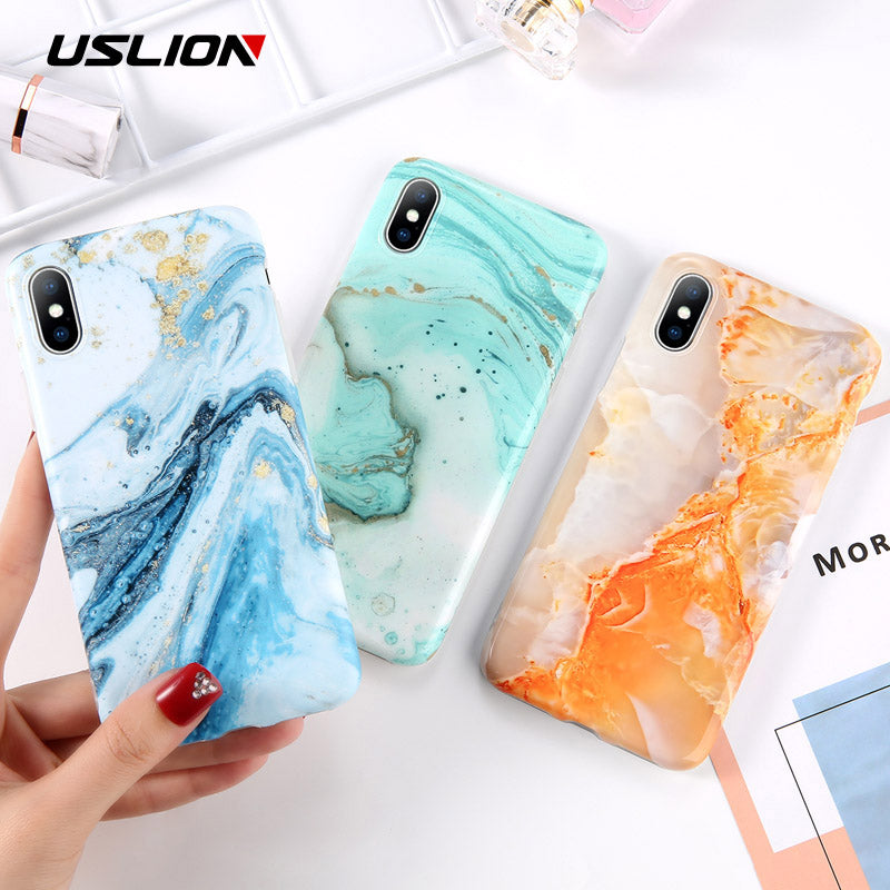 USLION Marble Phone Case For iPhone X XR XS Max XS Gradient Stone Image Cover For iPhone 7 6 6S 8 Plus Soft TPU Slicone Cases