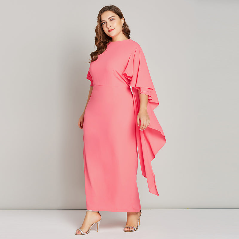 Women Plus Size Maxi Dress Ruffle Sleeve Elegant Party Dresses Back Zipper  Watermelon Pink Bodycon Pencil Long Dress Big Size