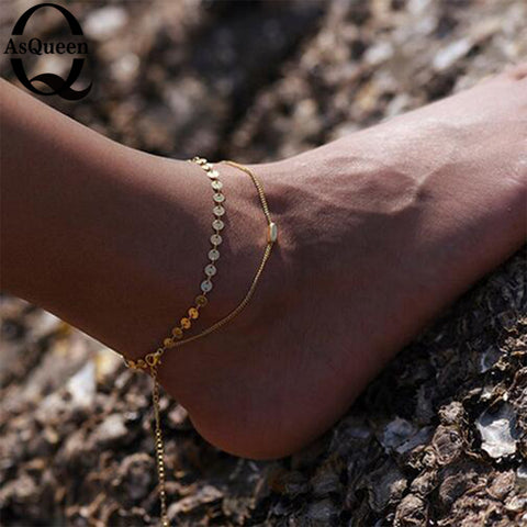 011c16502f2 New Two Layer Silver Bracelet Anklet Summer Boho Ankle Chain Foot Jewelry  for Women as Gift