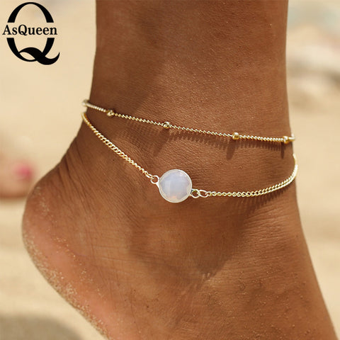 ab4a7f01f Boho Opal Anklet For Woman Foot Chain Summer Fashion Silver Color Multi  Layer Anklets Bracelet Charm Foot Jewelry Gift