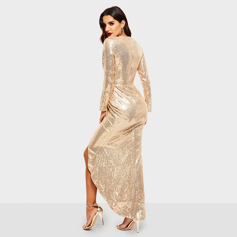 2996931d Golden Reflective Sequins Dress Women Party Sexy Bodycon High Waist Spring  2019 Elegant Evening Ladies Deep