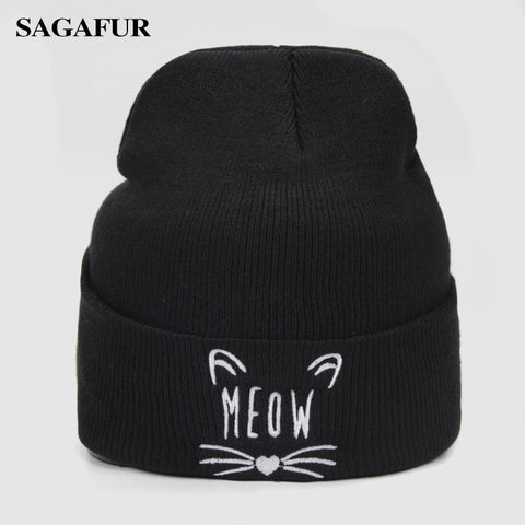 3147ca65488 Warm Knitted Hat Female Quality Letter Embroidery Cute Kitten Hat Women s  Winter Fashion Casual Skullies Beanies Men Cap For Boy