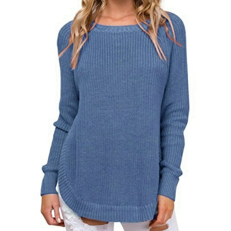 Casual Plus Size O-neck Knitted Jumper Pullovers Tops Irregular Split Women Sweaters Solid Outwear Winter Autumn Sweater GV638B
