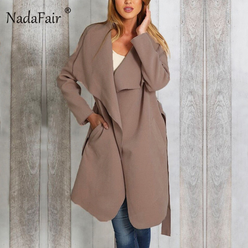 Nadafair 2018 women long wool blend coat female pockets sash thick casual jacket coats women autumn winter slim solid overcoat
