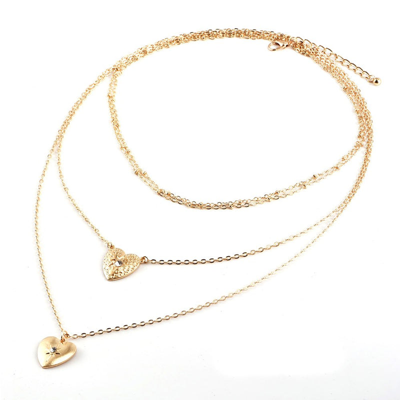 4edf9e1284 Women Trendy Choker Crystal Heart Chain Pendant Multilayer Necklace Boho  Party Wedding Simple Jewelry Accessories