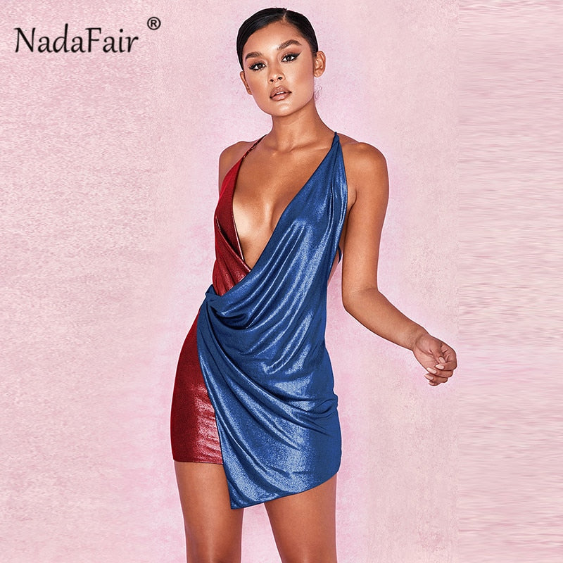 color patchwork bodycon sexy club party dress women deep v neck backless criss cross draped wrap strap summer dress