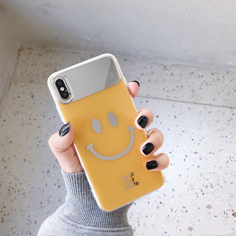 d343d283b1 Cute Smile Face Mirror Phone Case For iphone XS Max XR X 8 7 Plus Cases