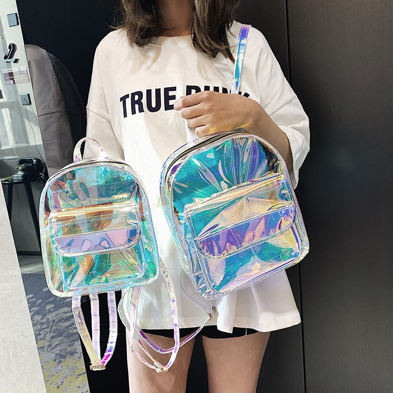 Summer Girls Clear Backpack Personality Lovely Cute Knapsack Satchel Schoolbag Mini Travel Bags Transparent PVC Laser Backpack