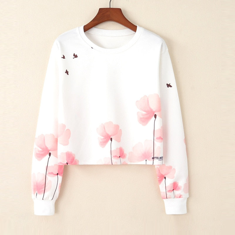 2018 Women Autumn Fashion Long Sleeve Printed Sweatshirt Blouse Tops White Hoodies Woman Clothes roupas