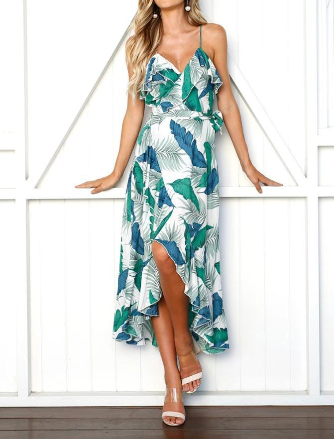 9eb355bd7a14e Women Leaves Printed Boho Dress V-Neck Ladies Summer Beach Sundress Ruffles  Asymmetric Hem Vintage Dresses #BF