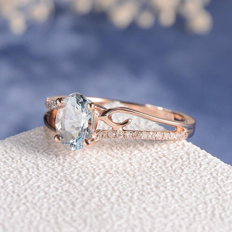 2018 New Blue Stone Ring Rose Gold Engagement Wedding Rings For