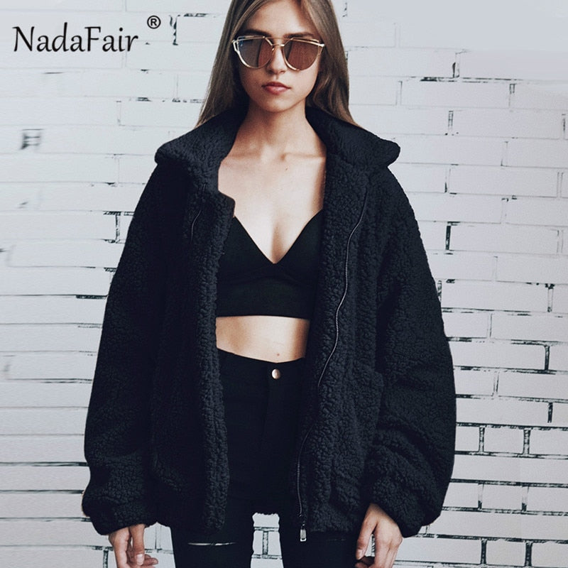Nadafair thick plus size winter fleece faux fur jacket coats women autumn warm casual teddy coat outerwear soft plush overcoat