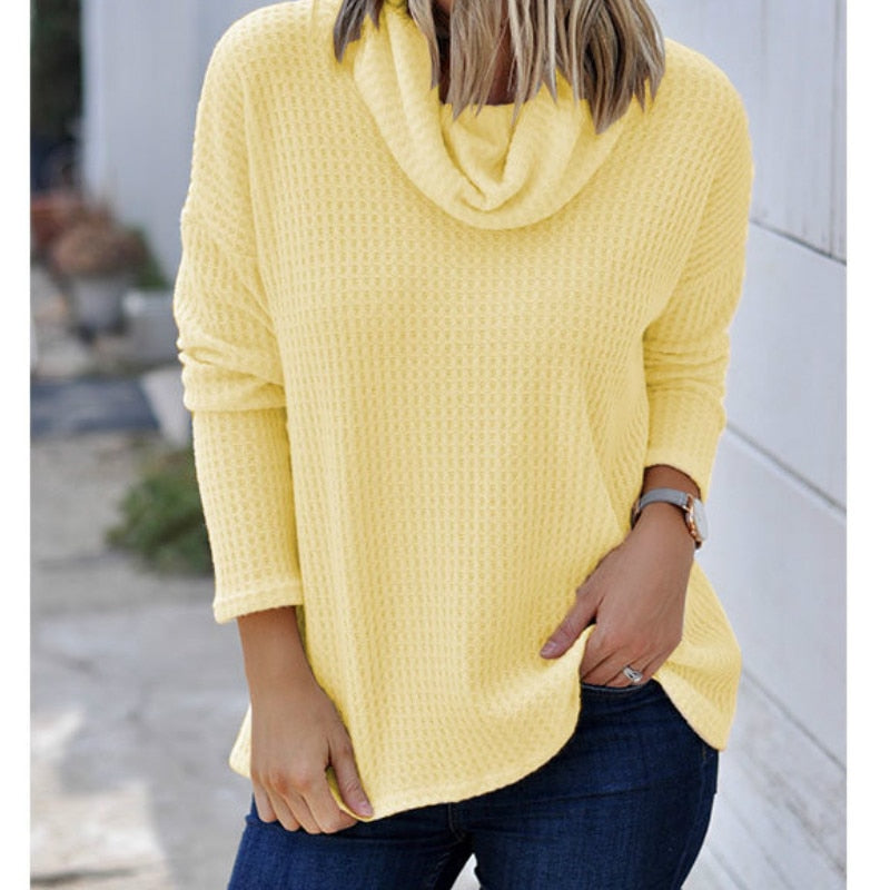 Turtleneck Knitted Women Sweaters Autumn Winter Sweaters Thin 2XL Plus Size Tops Casual Loose Ladies Pullover Femme Shirt M0282B