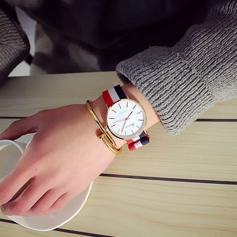 Watches 2018 Fashion Unisex Platimum Nylon Fabric Watch Sport Thin Students Canvas Quartz Dress Wristwatches For Boy Girl Casual Relogio