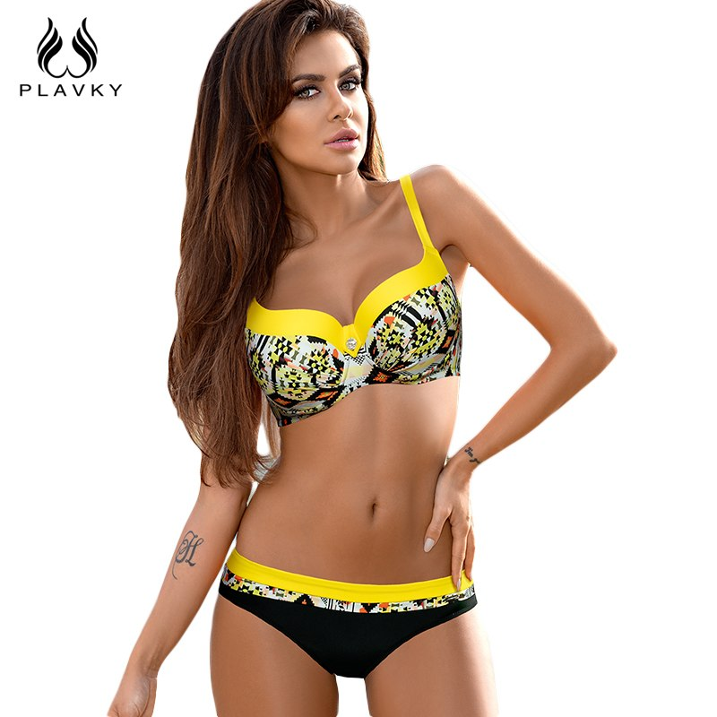 a4f26e731e PLAVKY 2019 Sexy Jewelled Rhinestone Geometric Biquini Bathing Suit  Swimsuit Plus Size Swimwear Women Brazilian Push