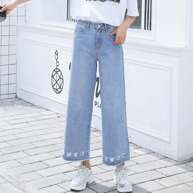 Denim Jeans For Women  High Waist Wide Leg Jeans Ripped Hole Loose Jeans Casual Ankle Length Jean Female #7006